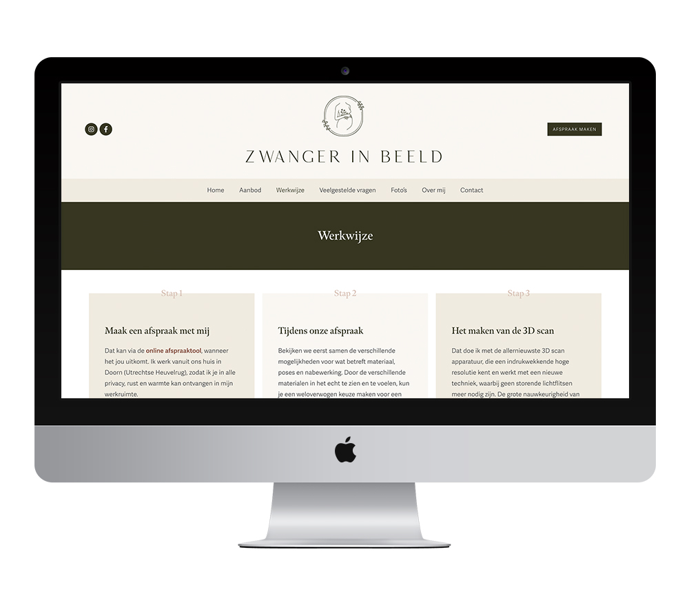 Webdesign: Zwanger in Beeld | Eunoia Studio